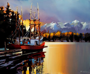 "SOLD ""Docked on the Stillness,"" by Michael O'Toole 20 x 24 – acrylic $1670 Unframed"
