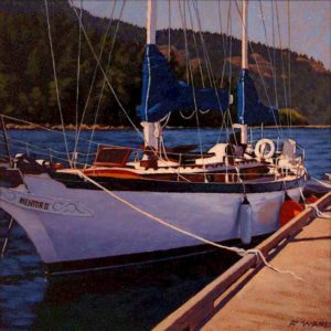"SOLD ""Dockside,"" by Ray Ward 12 x 12 – oil $855 Framed"