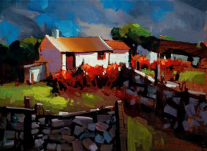 "SOLD ""Donegal Cottage, Ireland,"" by Michael O'Toole 9 x 12 – acrylic $600 Unframed"