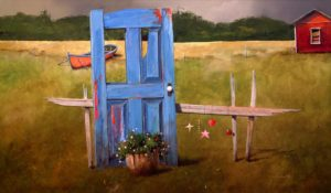 "SOLD ""Door & Dory,"" by Mark Fletcher 24 x 40 – acrylic $3080 Framed"