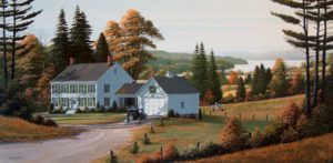 "SOLD ""Down a Country Lane,"" by Bill Saunders 20 x 40 – acrylic $5460 Framed"