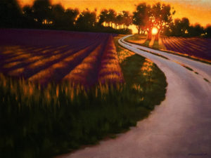 "SOLD ""Driveway at Dusk,"" by Ray Ward 12 x 16 – oil $995 Framed"