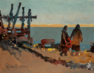 "SOLD ""Drying Maktak at Tuktoyaktuk,"" by Robert Genn 11 x 14 – acrylic $2700 Unframed"