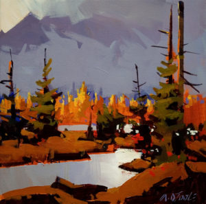 "SOLD ""Duffy Lake Road Drive,"" by Michael O'Toole 12 x 12 – acrylic $720 Unframed"