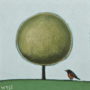 "SOLD ""Early Bird,"" by Peter Wyse 6 x 6 – acrylic $385 (unframed panel  with 1 1/2"" edging)"