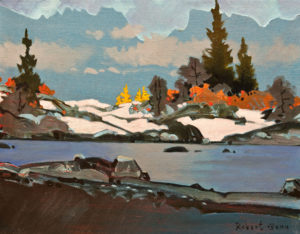 "SOLD ""Early Larches at Tamarack Glen, Bugaboos 2013,"" by Robert Genn 11 x 14 – acrylic $3000 Unframed"