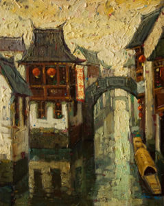 "SOLD ""Early Morning Solitude, Suzhou,"" by Dongmin Lai 8 x 10 – oil $800 Framed"