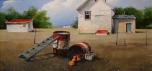 "SOLD ""Early Pumpkins,"" by Mark Fletcher 12 x 24 – acrylic $1610 Framed"