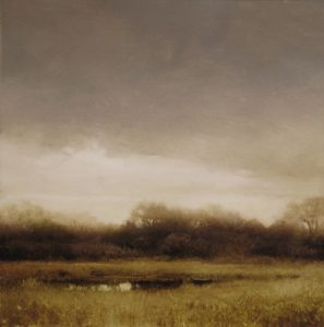 "SOLD ""Early Spring on the Lowlands (Study),"" by Renato Muccillo 5 x 5 – oil on mylar $1150 Custom framed"