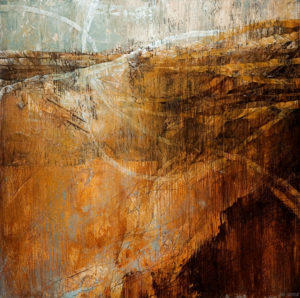 "SOLD ""Earth's Mantle,"" by Linda Thompson 30 x 30 – acrylic $2420 (thick canvas wrap without frame)"