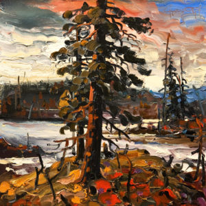 "SOLD ""Edge of Evening, Yukon,"" by Rod Charlesworth 12 x 12 – oil $1120 Unframed"