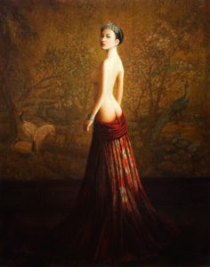 "SOLD ""Elegance (Qing Dynasty),"" by Dongmin Lai 22 x 28 – oil $8000 Framed"