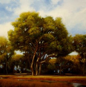 "SOLD ""Emerald Canopies (Study),"" by Renato Muccillo 18 x 18 – oil"