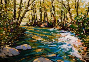 """SOLD """"Enchanted Green (Study),"""" by Min Ma 5 x 7 - acrylic $390 Unframed $535 in show frame"""