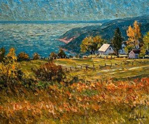 "SOLD ""Ensoleillement sur le fleuve, Ste-Irénée,"" by Raynald Leclerc (Sunshine on the River, Ste-Irénée) 20 x 24 – oil $2200 Unframed"