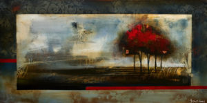 """SOLD """"Envelop,"""" by Heather Haynes 24 x 48 – acrylic $2350 (thick canvas wrap without frame)"""
