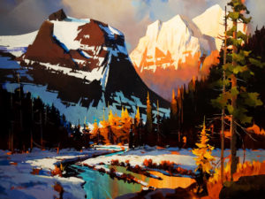 "SOLD ""Evening on the Columbia Icefield Parkway,"" by Michael O'Toole 36 x 48 – acrylic $5200 Unframed"