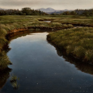 "SOLD ""Evening Estuary,"" by Ray Ward 8 x 8 - oil $585 Unframed $760 in show frame"