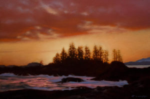 "SOLD ""Evening Glow, Frank Island,"" by Ray Ward 8 x 12 – oil $590 Unframed"