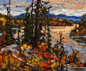 "SOLD ""Evening Glow, La Ronge,"" by Rod Charlesworth 10 x 12 – oil $965 Unframed"