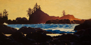 "SOLD ""Evening Glow, Ucluelet (Study),"" by Ray Ward 6 x 12 – oil $535 Unframed"