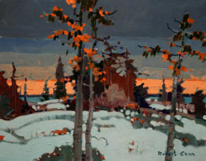 "SOLD ""Evening, Treaty Island, Lake of the Woods,"" by Robert Genn 11 x 14 – acrylic $2400 Unframed"