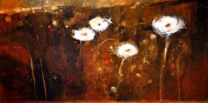 "SOLD ""Evening with White Blooms,"" by Susan Flaig 24 x 48 – acrylic/mixed media $1575 Unframed"