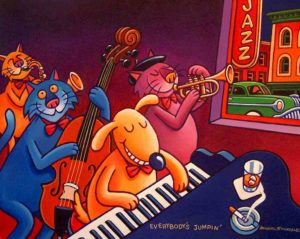 """SOLD """"Everybody's Jumpin',"""" by Michael Stockdale 16 x 20 – acrylic $675 Unframed"""