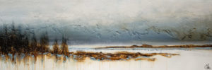 "SOLD ""Exhale, Now Dream,"" by Laura Harris 24 x 72 – acrylic $5180 (thick canvas wrap without frame)"