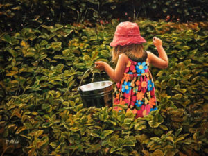 """SOLD """"Exploring the Strawberry Patch,"""" by Don Li 12 x 16 – oil $1250 Unframed"""