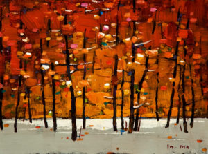 "SOLD ""Fall Again,"" by Min Ma 6 x 8 - acrylic $440 Unframed $600 in show frame"