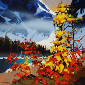 "SOLD ""Fall's Fever in Tonquin,"" by Michael O'Toole 20 x 20 – acrylic $1495 Framed"