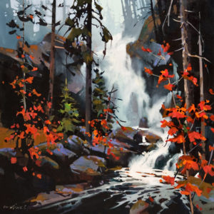 "SOLD ""Falls in the Spirit Bear Rain Forest,"" by Michael O'Toole 24 x 24 – acrylic $2200 Unframed"