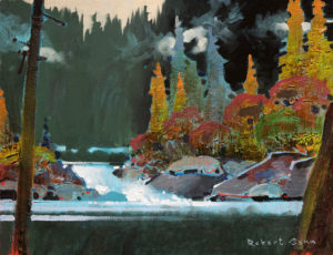 "SOLD ""Falls at Klewnuggit,"" by Robert Genn 11 x 14 – acrylic $2400 Unframed"