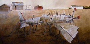 "SOLD ""The Farm Boy's Airplane,"" by Mark Fletcher 30 x 60 – acrylic $3800 Unframed"