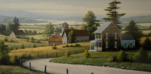 "SOLD ""Farmlands,"" by Bill Saunders 18 x 36 – acrylic $4920 Framed"