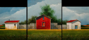 "SOLD ""Farm Triptych,"" by Mark Fletcher 12 x 26 overall size – acrylic $1450 (thick canvas  wraps without frame)"