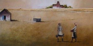 "SOLD ""The Feed Carriers,"" by Mark Fletcher 30 x 60 – acrylic $3500 Unframed"