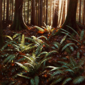 "SOLD ""Ferns and Fallen Leaves,"" by Ray Ward 12 x 12 – oil $930 Unframed"
