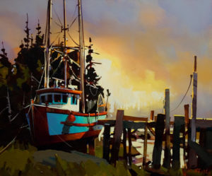 "SOLD ""Finn Slough at Dusk,"" by Michael O'Toole 20 x 24 – acrylic $1670 Unframed"
