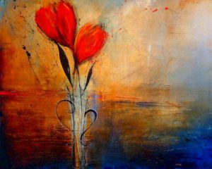"SOLD ""Fire and Water,"" by Laura Harris 48 x 60 – acrylic/mixed media $6450 Unframed"