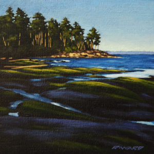 "SOLD ""First Light on Headland,"" by Ray Ward 6 x 6 – oil $450 Framed"