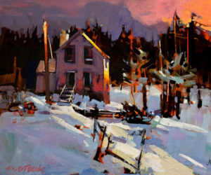 "SOLD ""First Snow, Hornby Island,"" by Michael O'Toole 10 x 12 – acrylic $725 Unframed"