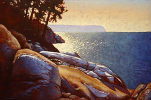 "SOLD ""First Snow, Lighthouse Park,"" by Ray Ward 24 x 36 – oil $2780 Framed"