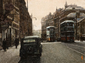 "SOLD ""First Snowfall,"" by Alan Wylie 9 x 12 – acrylic $1540 Unframed"
