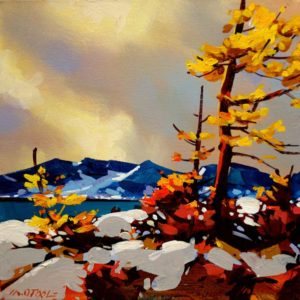 "SOLD ""First Snow on Howe Sound,"" by Michael O'Toole 12 x 12 – acrylic $650 (thick canvas wrap without frame)"