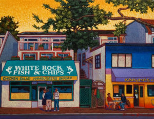 "SOLD ""Fish & Chips, White Rock,"" by Michael Stockdale 11 x 14 – acrylic $530 Unframed"