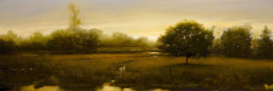 "SOLD ""Flooded Fence Line,"" by Renato Muccillo 8 x 24 – oil"
