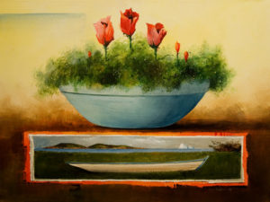 "SOLD ""Flower Bowl,"" by Mark Fletcher 18 x 24 – acrylic $2135 Framed"