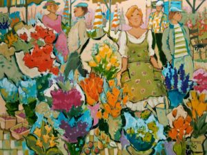 "SOLD ""Flower Market in White Rock,"" by Claudette Castonguay 30 x 40 – acrylic $2500 Unframed"
